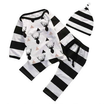 2016 Autumn style infant clothes newborn baby clothing sets boy Cotton Long sleeve T-shirt+Pants 3pcs suit baby boy clothes