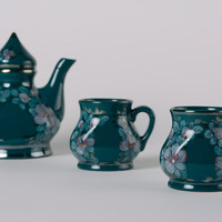 Handmade decorative green ceramic glazed tea set 3 items teapot and cups