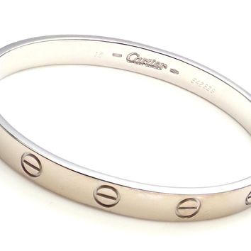 Authentic! CARTIER 18k White Gold Love Bangle Bracelet 1993 Size 16