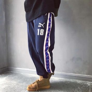 Puma Men Vintage Multicolor Logo Webbing Numeral Embroidery Thickened Sweatpants Leisure Pants Trousers