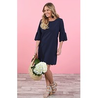 Scallop Bell Sleeve Dress
