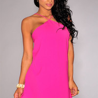 Hot Pink Halter Strappy Back Mini Dress