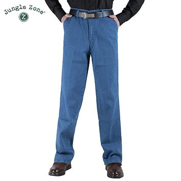 Thin section Man Middle-aged Jeans Casual Middle Waist Loose Long Pants Male Solid Straight Jeans men's trousersc