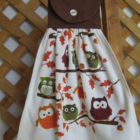 Owl Theme Kitchen Tea Towel Fall Owl Theme Hanging Kitchen Tea Towel SnowNoseCrafts