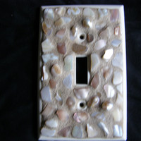 Gold and Pearl Abalone Shell Mosaic Switchplate, Beach Decor, Home Decor, Shell Decor, Mosaic,Switchplate,Light Fixture