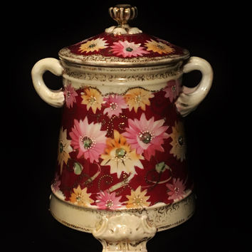 Porcelain Royal Kinran Crown Nippon Hand Painted Double Handle Jar w/ Lid