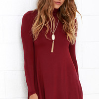 Sway, Girl, Sway! Wine Red Swing Dress