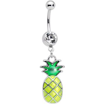 Clear Gem Glow in the Dark Green Tropical Pineapple Dangle Belly Ring