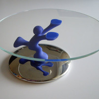 Vintage Cake Plate or Stand - Bimboveloce Alessi designed by Mattia Di Rosa - Unique Made in Italy - Blue Man Holding up Glass