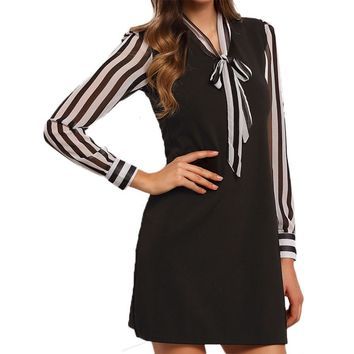 2017 New Elegant Womens Dress Office Ruched Party Casual Striped Long Sleeve Short Cotton Sexy Bodycon Mini Dresses #LSIN