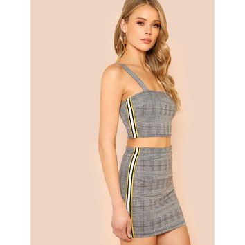 Houndstooth Print and Side Stripe Detail Crop Top with Matching Skirt GREY