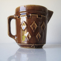 1930s Stoneware Pitcher, Batter Pitcher, Cream Pitcher, Western Stoneware, Art Deco Pitcher, Brown Ceramic Pottery, SALE