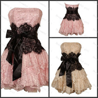 Homecoming dress Pink & champagne with black lace sashes cocktail dresses