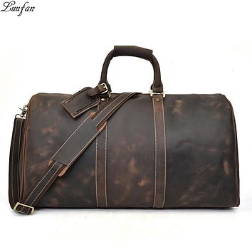 Mens Genuine Leather Travel Duffel Bag Big Capacity Durable Crazy Horse cow Leather Large Shoulder Weekend Bag luggage handbag