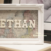 Perfect baby shower gift - Welcome to the world - 5x7 or 8x10 Baby name room canvas panel decoration with homemade antique map
