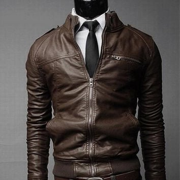 Mens Slim Faux Leather Zip-Up Jacket