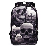 2017 New Fashion Men's Backpack Cool Printing Backpacks Skull Heads Senior High School Bags For Teenage Boys Laptop Mochilas