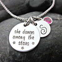 She Dances Among the Stars - Personalized Memorial Necklace - Initial - Birthstone