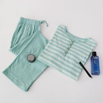 Cotton knitted lounge set male spring and autumn 100% cotton long sleeve length pants men stripe loose pajama set