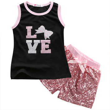 Kids Girls Baby  Love Top + Sequined Shorts 2pcs/set 1-6Y