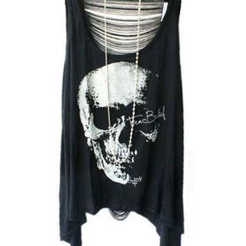 CREYUG3 Punk Style Skeleton Print T-shirts with Sexy Fringe Back = 1932911876