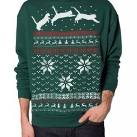 Skip N' Whistle Adult Ugly Christmas Sweater Cat Jumping In Snow Pullover Sweatshirt