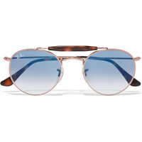 Ray-Ban - Round-frame rose gold-tone and acetate sunglasses