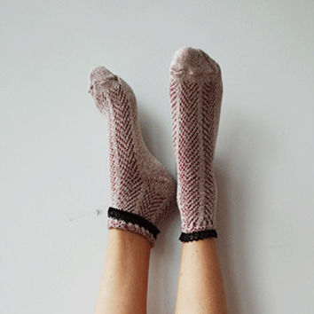 Red Heather Lace Short Socks