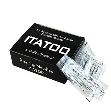 ITATOO® Disposable Sterilized Tri-Beveled Medical Grade Body Piercing Needles Sharp Tip (16 Gauge)