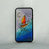 Sailin' on a Dream, iPhone case, iphone cover, iPhone 4/4s, nautical, boat, fun, unique, sailing, imagination, sailboat, moon, fantasy