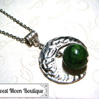 Moon Necklace Metaphysical Spiritual Lunar Moon Jewelry Celestial Jewelry Wiccan Pagan Witchcraft Serpentine Gemstone Lunar Unisex Gift