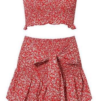 Strike A Match Floral Pattern Short Sleeve Off The Shoulder Crop Top Smocked Tie Waist Ruffle Flare Casual Two Piece Mini Dress - 2 Colors Available