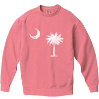 South Caroline State Flag White Pigment Dyed Crew Sweatshirt