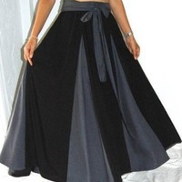 BLACK SKIRT LONG INSERT CONTRAST SASH FITS - 4X 5X 6X - F201A