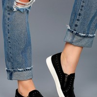 Report Andre Black Leather Studded Slip-On Sneakers