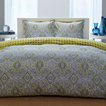 Twin size 100-Percent Cotton Comforter Set with Blue Yellow Damask Pattern