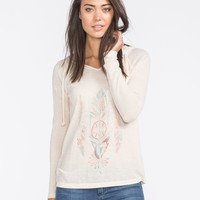 Full Tilt Symbol Feather Womens Hooded Thermal Oatmeal  In Sizes