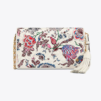 Tory Burch Fleming Printed Flat Wallet Cross-body