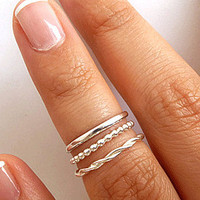 Set of 3 Stack Rings - Sterling Silver Rings  - Thin 1.5mm Rings - Slim Band Stack Rings - Braided Ring - Beaded Ring