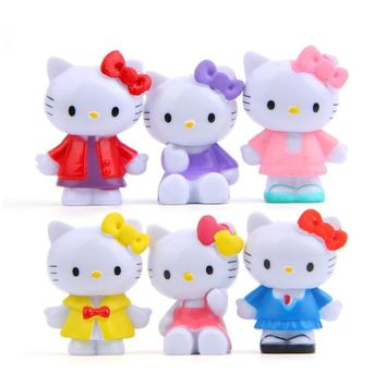 6pcs/lot Hot Sale hello kitty Action Figures Toys Dolls classics for collections Cute Desk Toy Christmas Toys for Children Doll
