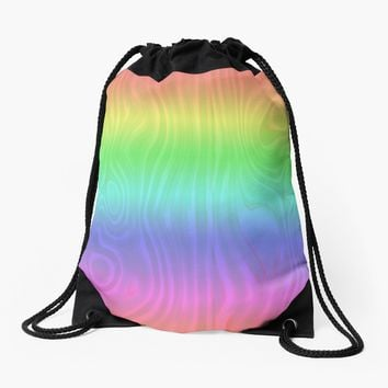 'Groovy Pastel Rainbow' Drawstring Bag by Gravityx9