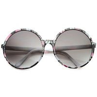 Oversize Women's Festival Floral Round Sunglasses A178