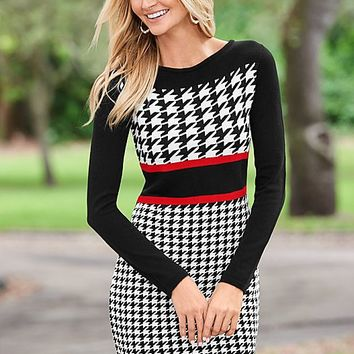 Houndstooth printed sweater dress