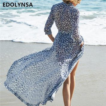 Leopard Chiffon Beach Cover up Tunics for Beach Long Kaftan Bikini Cover up Robe de Plage Sarong Beach Swimsuit coverup #Q569