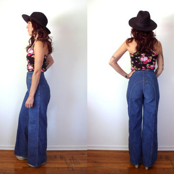 Vintage 70's High Waist Bell Bottom Jeans Size 13