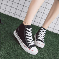 """""""ulzzang"""" Fashion All-match Casual  Classic High Help Shoes Harajuku Shoes Canvas Straps Shoes Flats Shoes Student Shoes Plate Shoes  Female Single Shoes"""