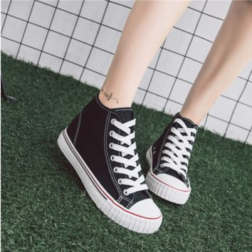 """ulzzang"" Fashion All-match Casual  Classic High Help Shoes Harajuku Shoes Canvas Straps Shoes Flats Shoes Student Shoes Plate Shoes  Female Single Shoes"