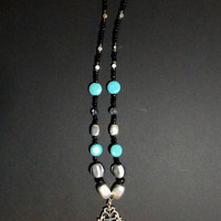 Handmade Turquoise, Black and Silver Beaded Pendant Necklace from NotionsN'Potions