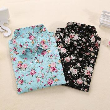 Women Blouses Turn Down Collar Floral Blouse Long Sleeve Shirt Women Camisas Femininas Women Tops And Blouses Fashion