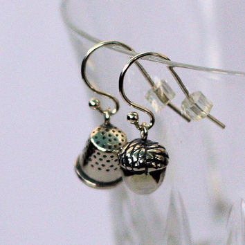 Peter Pan Thimble & Acorn Kiss Earrings Peter Pan and Wendy Kisses in SOLID Sterling Silver